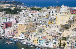 Italian sea coast, procida, naples. Meditarranean scene royalty free stock photo