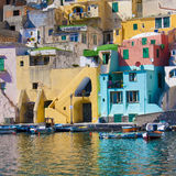 Italian sea coast, procida, naples. Meditarranean scene in hdr Royalty Free Stock Images
