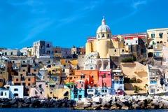 Italian sea coast, procida, naples. Meditarranean scene in hdr royalty free stock image