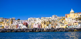 Italian sea coast, procida, naples. Meditarranean scene royalty free stock photography