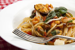 Italian seafood spaghetti. Royalty Free Stock Image