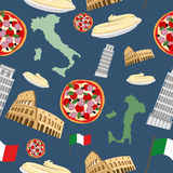 Italian seamless pattern. Vector Background of the symbols of It Royalty Free Stock Image