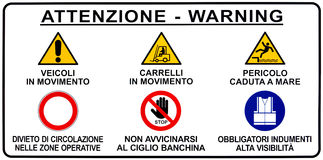 Italian Seaport Warning Road Sign Stock Photo