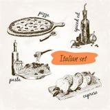 Italian set. Set of hand drawn graphic illustrations royalty free illustration