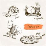 Italian set. Set of hand drawn graphic illustrations stock illustration
