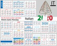 Italian Set Of Pocket Calendars For 2020 Stock Photos