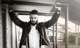 Italian man - Boy with long gangster beard stock photos