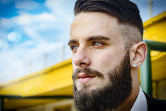 Italian sexy man - Boy with long gangster beard Stock Photography