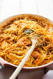 Italian shrimp and tomato sauce pasta stock photos