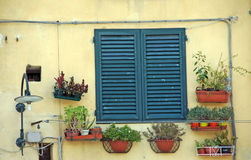 Italian shutters. Picture of front of a house in Lucca,Tuscany,Italy Stock Photo