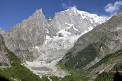 Italian side Mont Blanc summer landscape. Mont Blanc is the highest peak of european Western Alps. Royalty Free Stock Photos