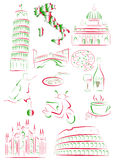 Italian sights and symbols royalty free illustration