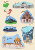 Italian sights in watercolour. Stock Photo