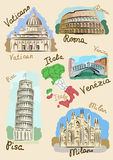 Italian sights in watercolours. Sights of Italy drawn in watercolours style Stock Photography