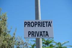 Private property symbol. Italian sign: Proprietà privata, Private property Stock Images
