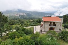 Free Italian Small House In High Mountain In The Clouds Stock Image - 117056981