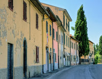 Italian small town view with a cypress tree Royalty Free Stock Photo
