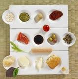 Italian snacks. On white plate royalty free stock photos