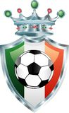 Italian soccer. Vector illustration of the soccer ball on italian flag Stock Photography