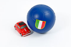 Italian soccer ball and car Royalty Free Stock Photography