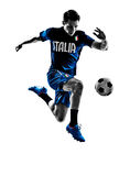 Italian soccer players man silhouettes. One italian soccer players man playing football jumping in silhouettes white background Stock Photography