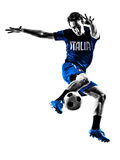 Italian soccer players man silhouettes Royalty Free Stock Images