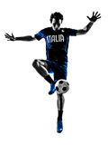 Italian soccer players man silhouettes Royalty Free Stock Photo