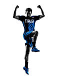 Italian soccer players man silhouettes Royalty Free Stock Image