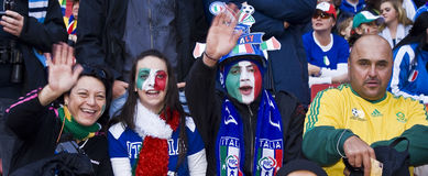 Italian Soccer Supporters - FIFA WC. Soccer fanatics, supporting Italy, show support for the team at the 2010 FIFA soccer world cup Stock Images