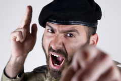 Italian soldier. With beret and camouflage Stock Photography