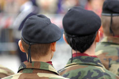 Italian soldiers. During a national celebration in Milan Royalty Free Stock Photography