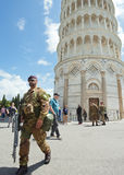 Italian soldiers in Cathedral Square of Pisa Stock Photography