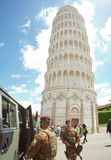 Italian soldiers in Cathedral Square of Pisa Stock Photos
