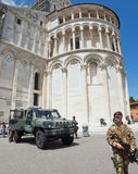 Italian soldiers in Cathedral Square of Pisa Stock Image
