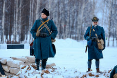 Italian soldiers in the snowstorm. stock photography
