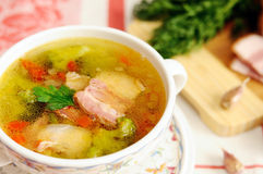 Italian soup with  bacon Royalty Free Stock Image