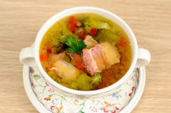 Italian soup with  bacon Royalty Free Stock Images