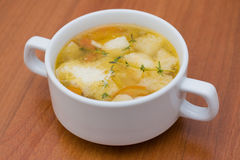 Italian soup with champignons and cheese Royalty Free Stock Image