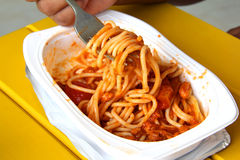Italian spagheti. Italian tomato spagheti pasta (Spaghetti al pomodoro Stock Images
