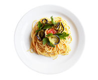 Italian Spaghetti And Aubergine Royalty Free Stock Photos
