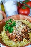 Italian Spaghetti in beef tomato sauce. Italian spaghetti in ground beef tomato sauce with cheese Stock Photos