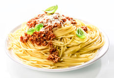 Italian spaghetti Bolognaise with grated parmesan Stock Images