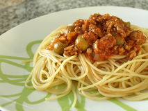 Italian spaghetti bolognese with olives Royalty Free Stock Photography