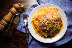 Italian spaghetti - carbonara. Plate of spaghetti carbonara, traditional italian dish Stock Images