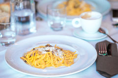 Italian spaghetti with cheese in the gourmet restaurant. Italian fettuccine and spaghetti with cheese in the gourmet restaurant stock image