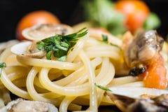 Italian spaghetti and clams Stock Image