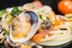 Italian spaghetti and clams Royalty Free Stock Photos