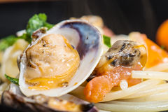 Italian spaghetti and clams Stock Photos