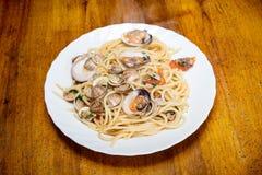 Italian spaghetti and clams Stock Images