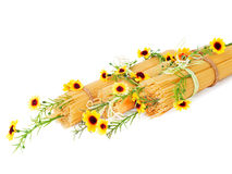 Italian spaghetti decorated with flowers isolated Stock Photo